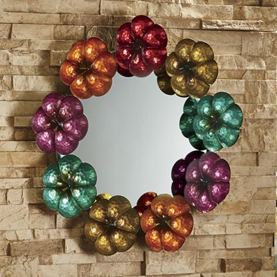 Round Flower Frame Mirror