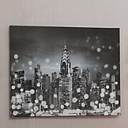 Silver Sequin Cityscape Canvas