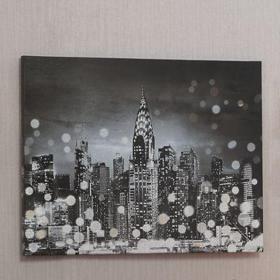 Silver Sequin Cityscape Canvas