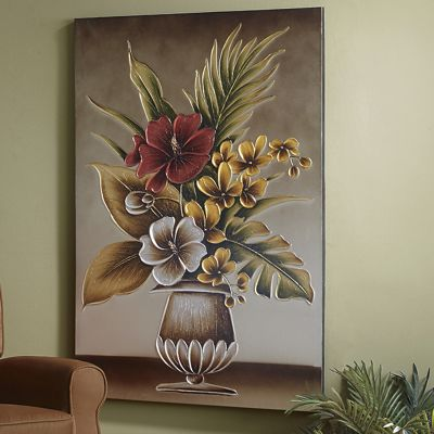 Tropical Flowers in Vase Canvas