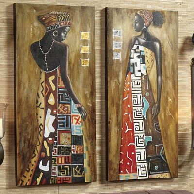 Set of 2 Hand-Painted Noble Woman Canvases