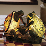 turtle and frog playing chess lamp