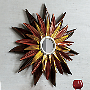 red   orange floral wall mirror