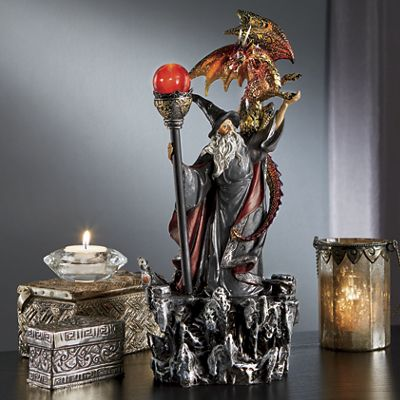 Lighted Wizard/Dragon Figurine
