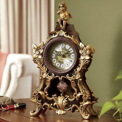 Golden Cherub Tabletop Clock