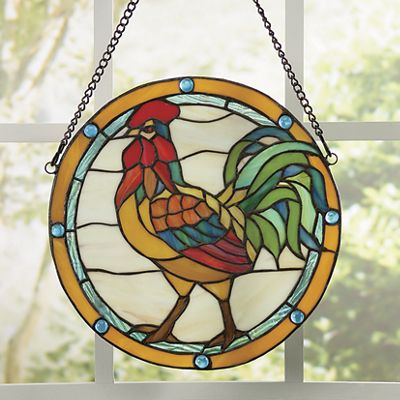 Rooster Stained Glass Panel