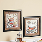 set of 2 framed coffee art