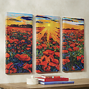 3 pc  lighted field of flowers canvas set