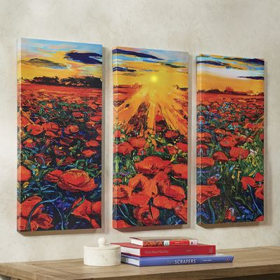 Lighted Field of Flowers Canvas Set