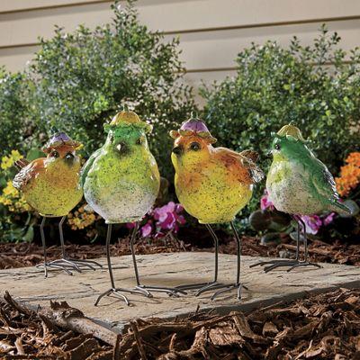 Set of 2 Garden Birds with Hat