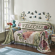welcome tapestry sofa and loveseat throw