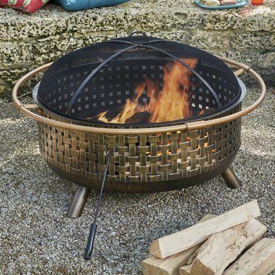 Round Bronze Weave Firepit