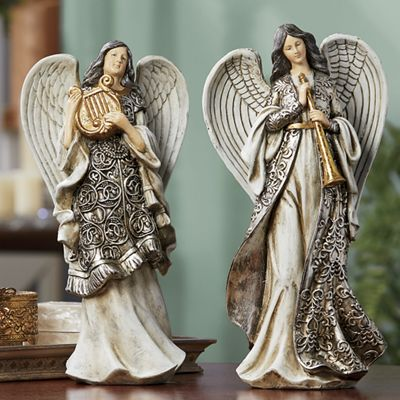 Harp or Horn Angel Figurine