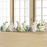 set of 6 resin easter bunny figurines