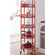 5 tier scroll mobile tower shelf