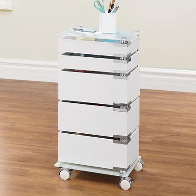 5-Drawer Glass-Top Storage Cart