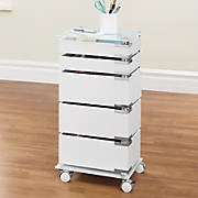 5-Drawer Glass-Top Storage Cart