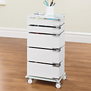 5 drawer glass top storage cart