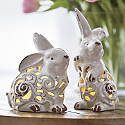 set of 2 ceramic bunny lanterns