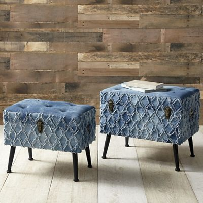 Set of 2 Denim Storage Ottomans