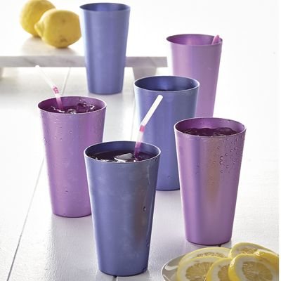 Set of 6 Light & Dark Purple Aluminum Tumblers