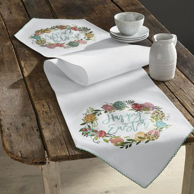 happy easter table runner from country door n2757870. Black Bedroom Furniture Sets. Home Design Ideas