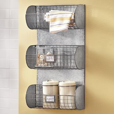 Metal 3-Basket Wall Unit