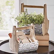 set of 2 galvanized olive baskets