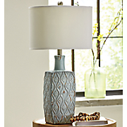 Embossed Light-Blue Table Lamp