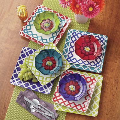 Multicolor Checker/Floral Dinnerware Set