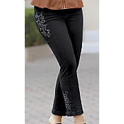 side embroidered slim jean