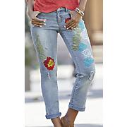 distressed floral jean