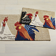 3 roosters indoor outdoor mat