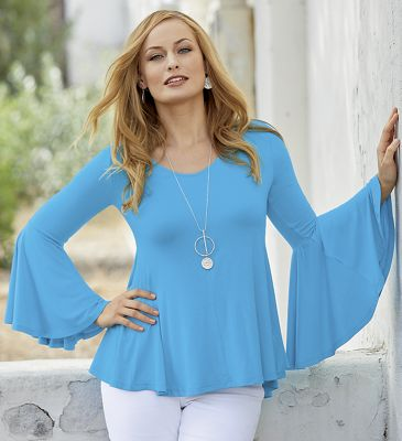 Bell-Sleeve Knit Top