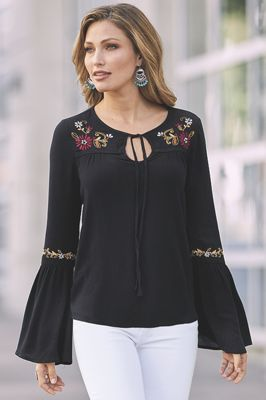 Embroidered Keyhole Top