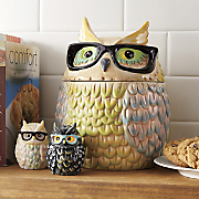 ceramic owl cookie jar with salt and pepper shakers