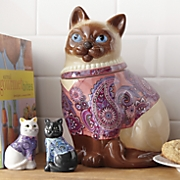 ceramic cat cookie jar with salt and pepper shakers