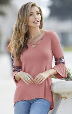 Knit Embroidered-Sleeve Top