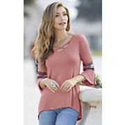 knit embroidered sleeve top
