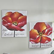 Set of 2 Pink Poppy Art