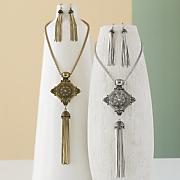 scroll long necklace earring set