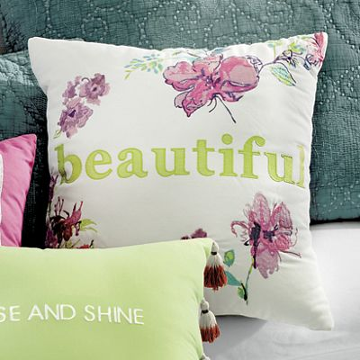"""Boho Garden """"Beautiful"""" Accent Pillow by Jessica Simpson"""