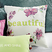 "Boho Garden ""Beautiful"" Accent Pillow by Jessica Simpson"