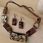 acrylic stone necklace earring set