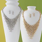 link bib necklace earring set
