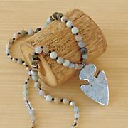 gemstone arrow bead pendant