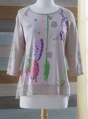 Butterfly and Lace Top