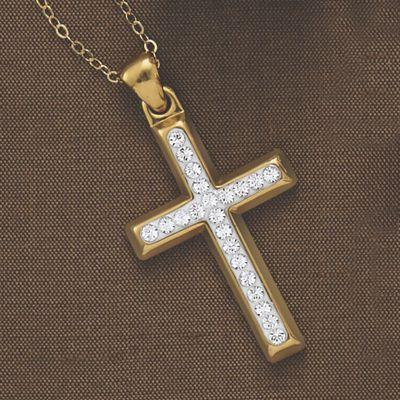 14K Gold Nano Diamond Resin Crystal/Cross Pendant