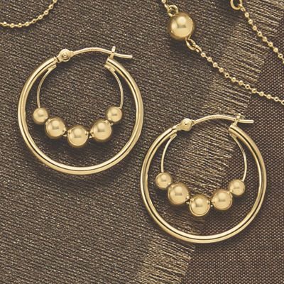 Gold Double Bead Hoops