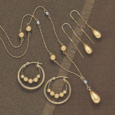 Gold Double Bead Hoops